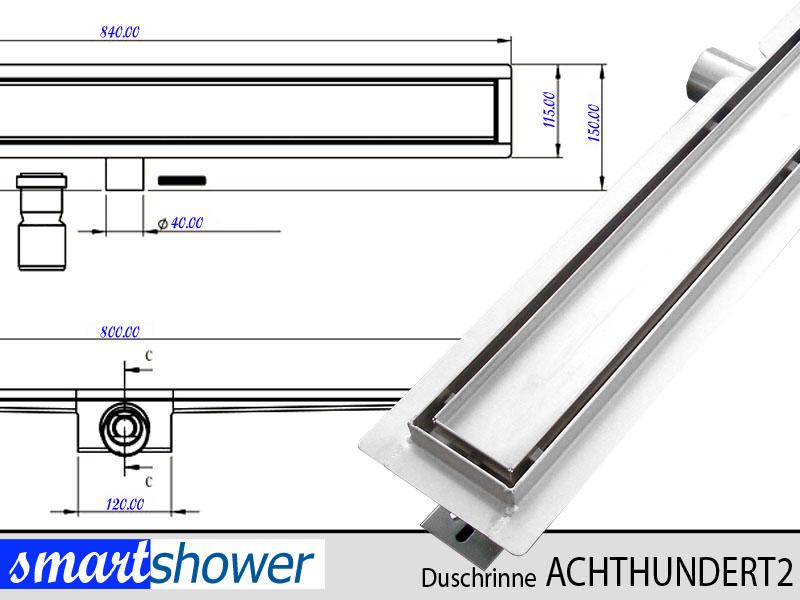 bodenablauf duschablauf duschrinne ablaufrinne 80cm edelstahl frei befliesbar ebay. Black Bedroom Furniture Sets. Home Design Ideas