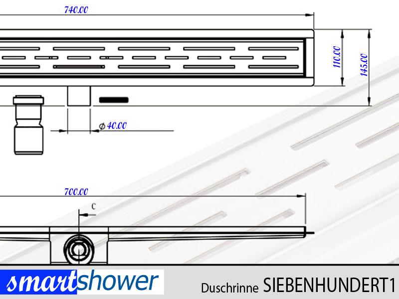 bodenablauf duschablauf duschrinne ablaufrinne 70cm edelstahl von smartshower ebay. Black Bedroom Furniture Sets. Home Design Ideas